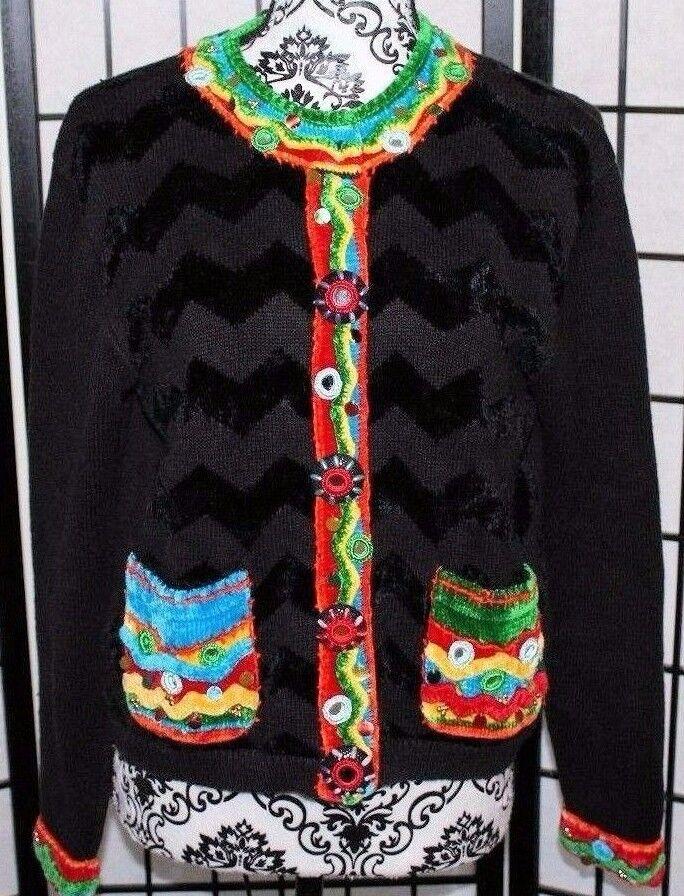 BEREK Women's Medium Sweater Beautifully Embellished Fabric Buttons Beautiful
