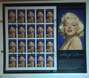 USA-Postage-Stamps-Marilyn-Monroe-Sheet-Scott2967-Postmarked