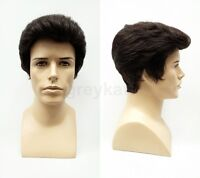 Mens Dark Brown Pompadour Style Wig Short Brushed Back Synthetic