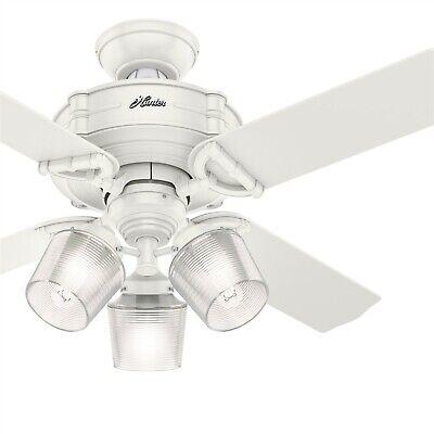 Hunter Fan 44 Inch Fresh White Indoor Ceiling Fan W Light Kit Amp Remote Control 49694511096 Ebay