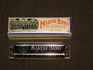 VINTAGE-MUSIC-HOHNER-HARMONICA-MARINE-BAND-F-NO-1896-IN-BOX