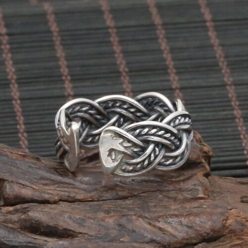 Solid 925 Sterling Thai Silver Ring Braided Men Women Adjustable Size 8 9 10