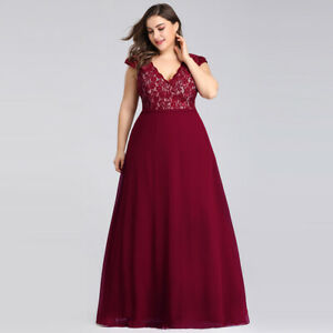 7d94985cc62 Details about Ever-Pretty Plus Size Evening Dresses Long Lace V Neck Party  Burgundy Ball Gowns