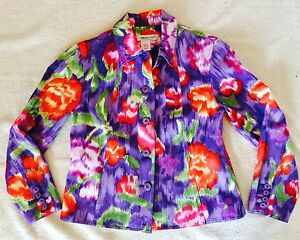 Coldwater-Creek-jacket-PXS-cotton-purple-red-pink-green-floral-pockets-top