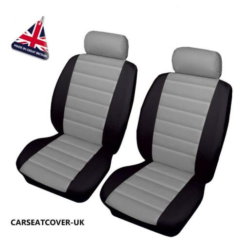 Front PAIR of Grey//Black LEATHER LOOK Car Seat Covers FORD TRANSIT CONNECT