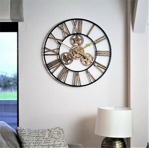 Large-Metal-Skeleton-Wall-Clock-Antique-gold-Home-Decor-Round-58cm-Indoor-amp-Out