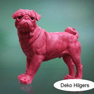 Mops-Stehend-Lebensgross-Figur-Tierfigur-Hund-Skulptur-Gartenfigur-Deko-Gross-Rosa