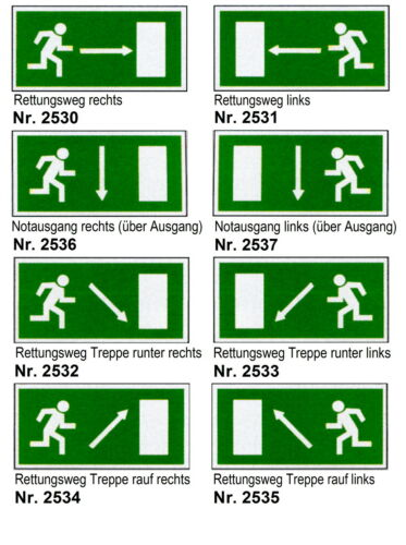 Fluchtweg-Schild-Notausgang-300 x 150 mm-Feuer-Brand-Warnschild-Hinweisschild