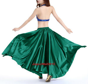 Green Satin Full Circle Skirt Belly Dance Gypsy Tribal 9 Yard Flamenco 360 Jupe