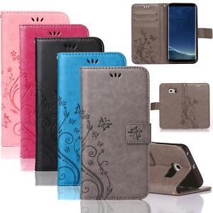 Handy-Tasche-fuer-Samsung-Galaxy-Schutz-Huelle-Blumen-Flip-Case-Wallet-Etui-Schale