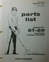 Homelite Electric String Trimmer St-20, St-40 & St-60 Parts Manual 8p