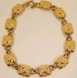 Vintage-Anne-Klein-Gold-Tone-Chunky-Rectangular-Link-Necklace-Toggle-Clasp