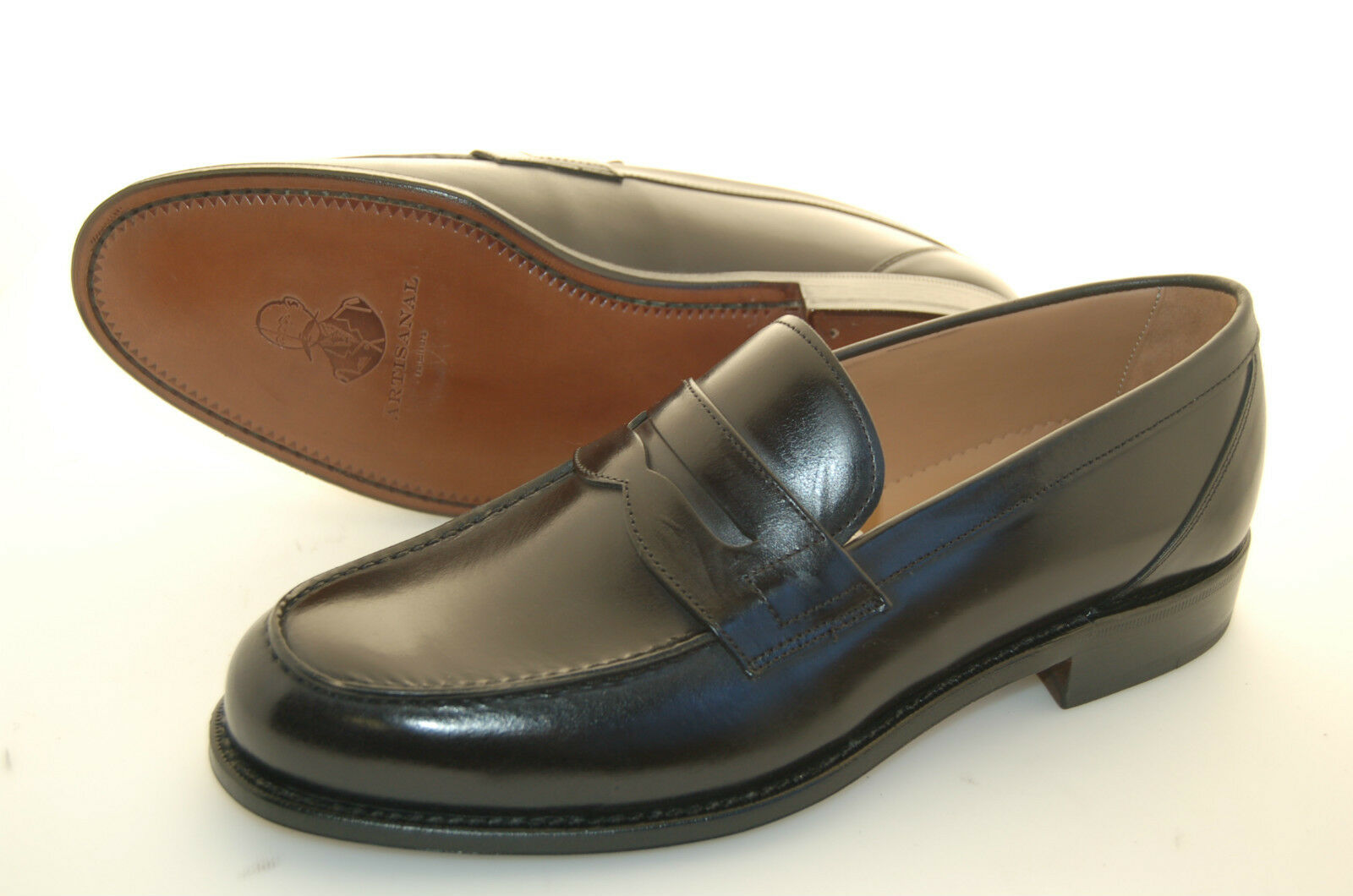 MAN - 42 - 8eu - PENNY LOAFER - BLACK OLD MOUNTAIN CALF - LEATHER SOLE
