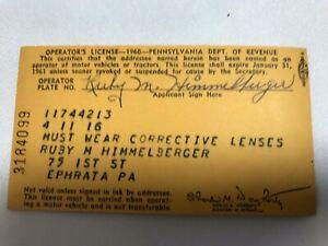 Pennsylvania-Paper-Operator-039-s-License-Ephrata-Pa-Dept-of-Revenue-1960-Vintage