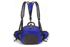 Waterproof Backpack Shoulder Waist Fanny Bag Sports Camping Hiking Blue