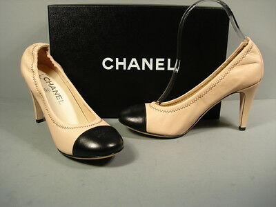 CHANEL CLASSIC GATHERED BLACK BEIGE LAMBSKIN ROUND TOE PUMPS HEELS CC 35.5 NEW