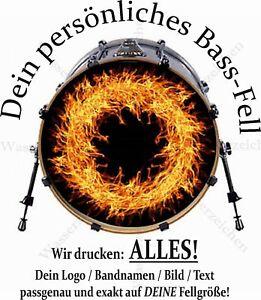 22 Aufkleber Folie Bass Drum Fell Resonanz Trommel Eigenes