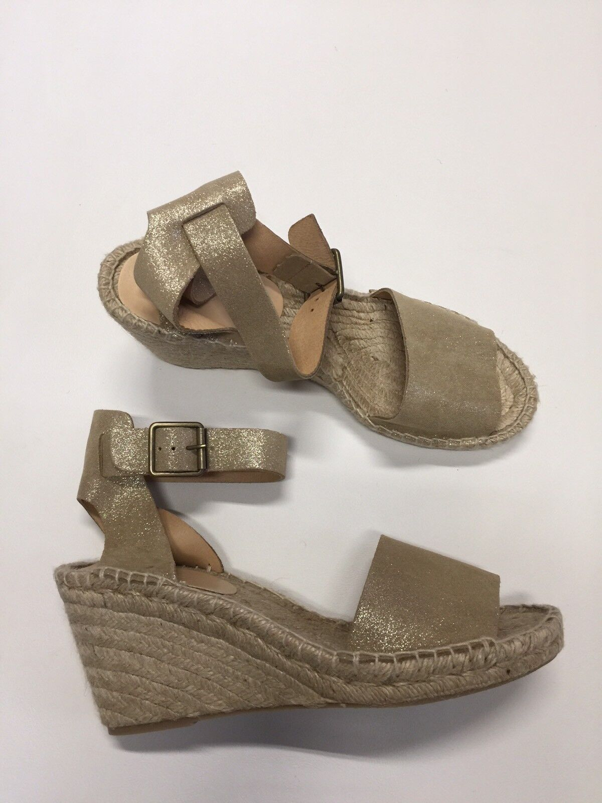 New J Crew Corsica Espadrille Wedges Metallic Suede Pale Gold Sz 10 G4198 128