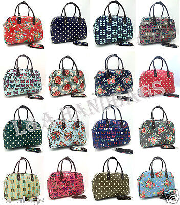 New Ladies Unisex Oilcloth Gym Beach Holdall Travel Cabin Weekend Bag Luggage