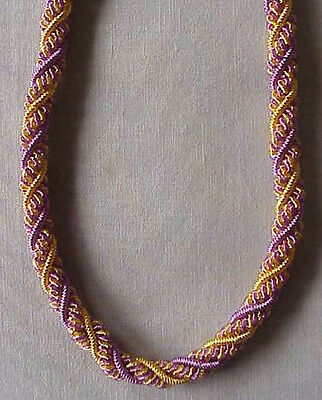 "Artisan Handcrafted Woven Rope Necklace Bullion 18"" Black /& Gold Braided"