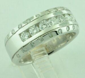 4d951142d00da Details about 14k Solid White Gold Mens Natural Diamond Ring Channel Set  Band April Birthstone