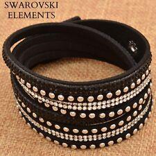 Bracelet  multirangées cuir souple  Swarovski® Elements  ajustable noir/ argenté