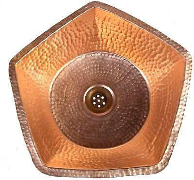 Polished Golden Copper Vessel Pan Hinged Handle Sink Toilet Bathroom Remodel