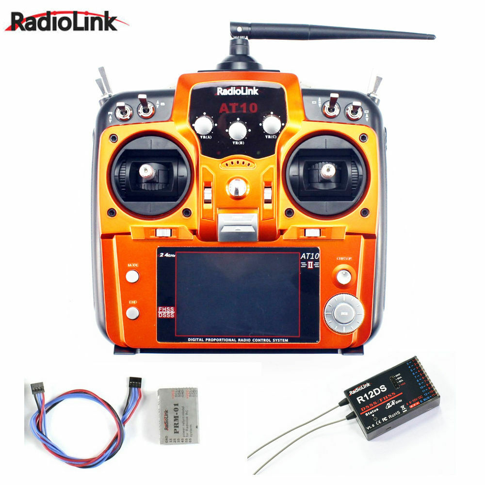 RadioLink AT10 II  2.4Ghz 10CH RC Transmitter with R12DS Receiver PRM-01  design unico