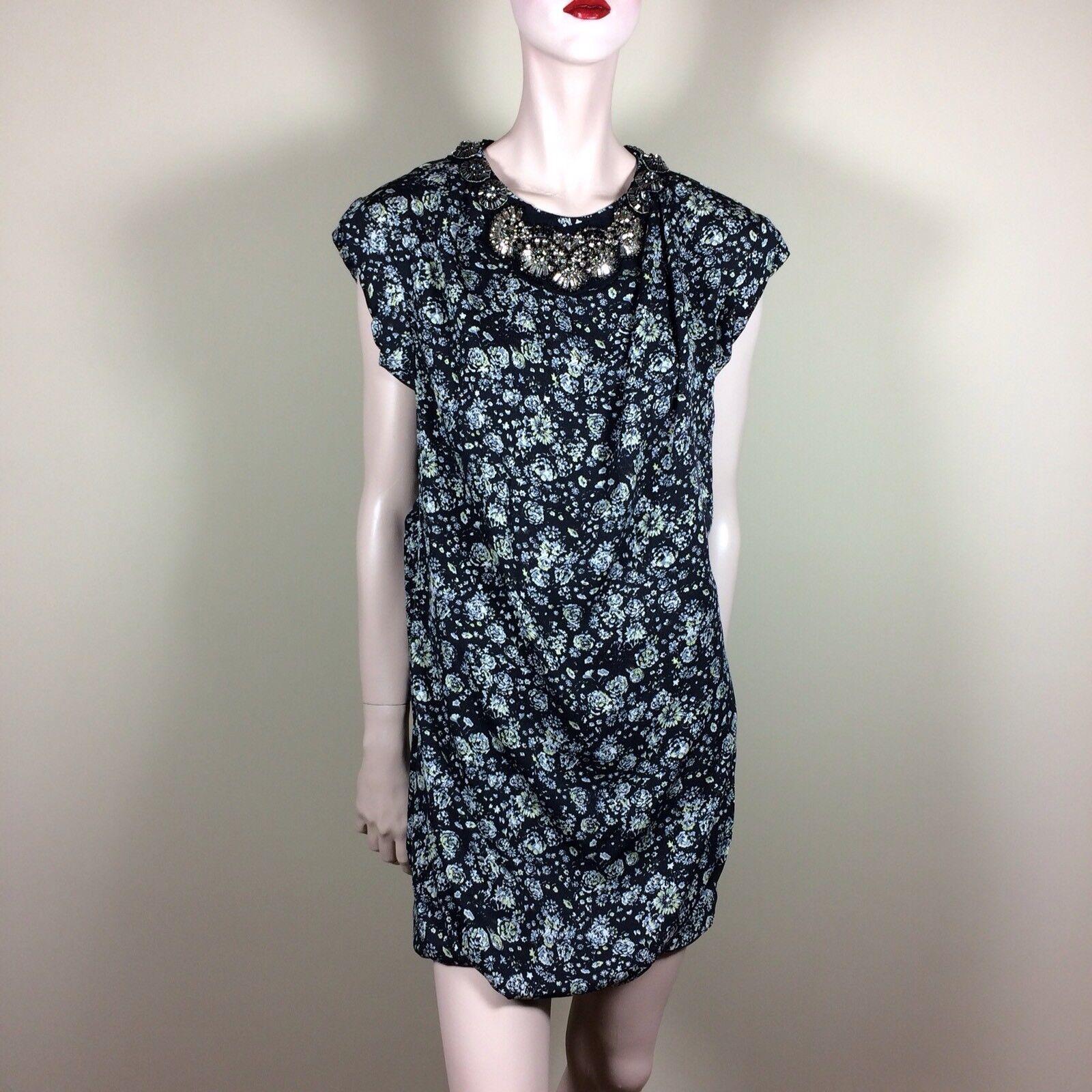 PHILLIP LIM Damen Kleid S 36 Schwarz Geblümt Tunika Top Eleganter Glamour Style