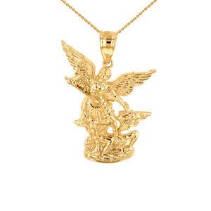 14k or jaune St Michael The Archangel Collier Pendentif