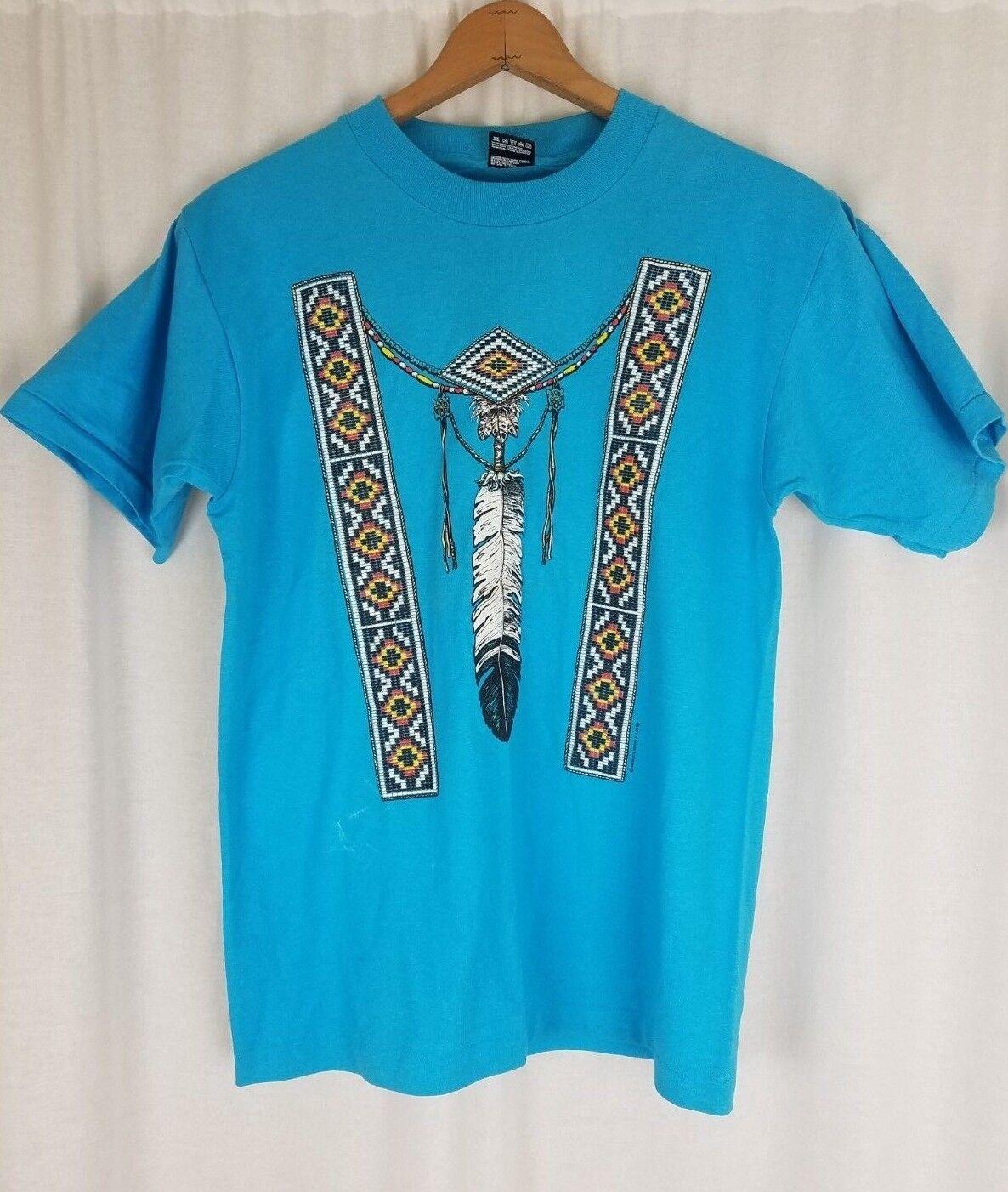 Vintage Moxie Gasse Indianer Reise Andenken T-Shirt T-Shirt HERREN M Blau