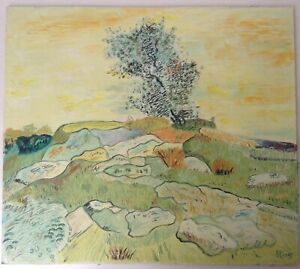 Beau-Tableau-original-Paysage-Provencal-Huile-Signee-maniere-Van-Gogh