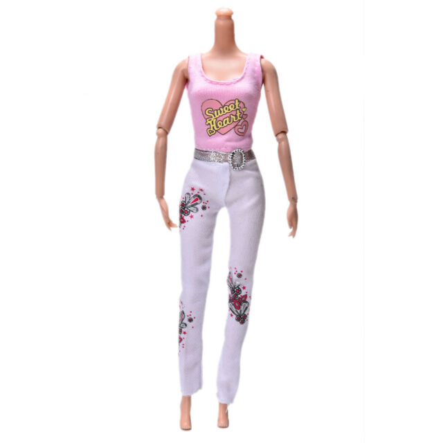2X Pink Vest Suit for Barbie Dolls Fashion White Pants Printed Doll Cloth Pip CA