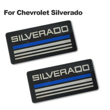 2x Silverado Cab Emblem Badge Side Roof Pillar Decal Plate For Checy Tahoe Blue