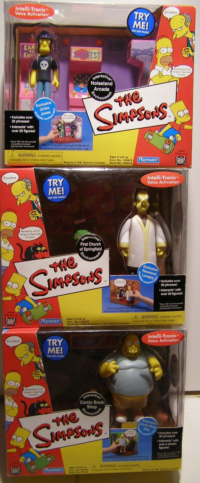 Simpsons WOS 3 Environments NEW with Exclusive Figures Arcade Church Comic Book