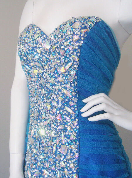 COVERGIRL LOOK  TURQUOISE TURQUOISE TURQUOISE blueE BEADED FORMAL PROM BALL BRIDESMAID DRESS AU10 US8 45c687