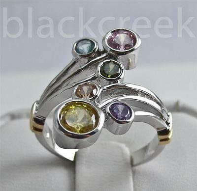 925 Sterling Silver ~ 2.00cttw Bezel Set Multi-Gemstone ~ Cocktail/Mother's Ring