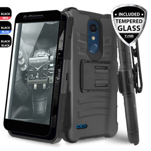 brand new 616b4 60646 Details about For LG Premier Pro LTE Rugged Phone Case Belt Clip  Holster+Black Tempered Glass