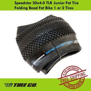 Vee Tire 20x4.0 Speedster Junior Fat Tire Folding Bead TLR Fat Bike 1 or 2 Tires