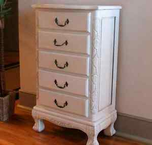 Jewelry Armoire White Dresser Stand Cabinet Lingerie