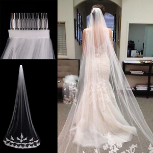 White-Ivory-1T-Cathedral-Applique-Edge-Lace-Bridal-Wedding-Veil-With-Comb-3M-MY