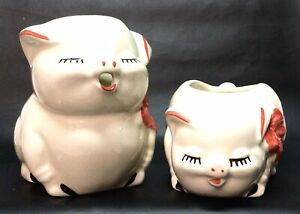 Vintage Pigs Shawnee Pottery Hand-painted, 2 pc - Sugar & Creamer Set, VGC, L👀K