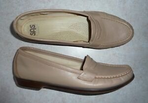 7077fa96472 Image is loading SAS-WINK-MOCHA-TAN-LEATHER-FLAT-PENNY-LOAFERS-