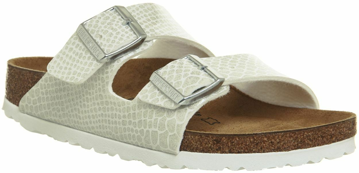 Birkenstock Arizona Magic Snake Sandals White Womens Synthetic Leather Sandals Snake Shoes a0e55c
