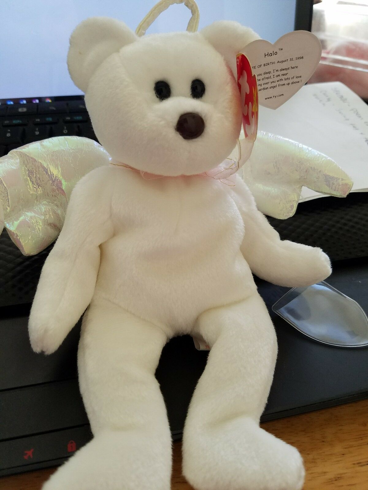 1998 1998 1998 Ty Beanie Original Baby HALO The Angel Bear Unused W Tags Retired e274d5