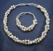 Genuine Freshwater White Pearl Necklace Earrings Bracelet Jewelry Set Wedding