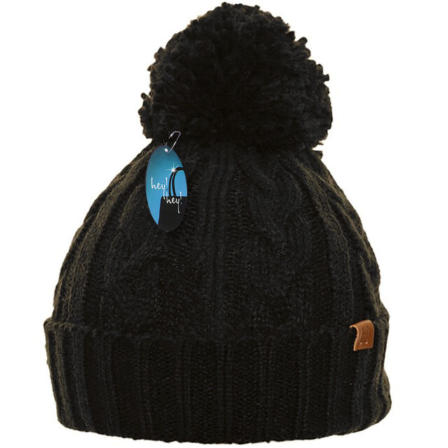 Snow #753 Brown//Rust Cold D/&Y Womens Cuffed Knit Winter Beanie Hat W//Pom Pom
