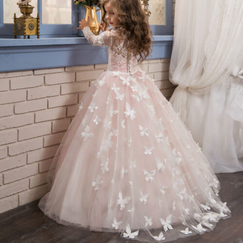 ABAO Childrens Girl Floor-Length Lace Tulle Ball Gown Wedding Pageants Dress ZG9