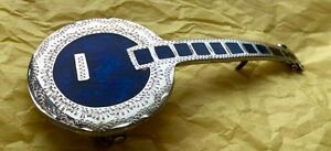 LARGE 5 INCH BANJO ETCHED SILVER BLUE ENAMEL INLAY BAND BLUEGRASS BELT BUCKLE