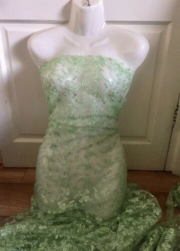"""3 MTR MINT GREEN SCALLOPED BRIDAL EMBROIDED LACE NET FABRIC...58/"""" WIDE £29.99"""